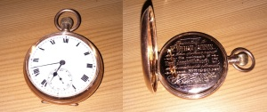 Pocket watch given to my real ancestor William Jackson on his retirement in 1920.
