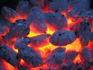 Glowing embers of a fire